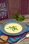 Potato soup with rocket
