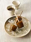 Coffee ice lollies on sticks