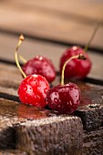 Cherries on a wooden crate