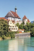 View of the Old Town and the Lech river in Füssen in the Allgäu region of Germany