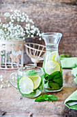 Detox-Wasser mit Limetten und Minze