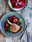 Pork chop with roasted plums