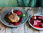 Pork cutlets with roast plums
