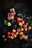 Still life of different peach varieties