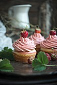 Vegan cupcakes with strawberry frosting
