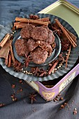 Chocolate biscuits with cocoa, almonds, and cinnamon (gluten free)