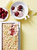 Cherry pie and custard icecream