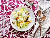 Buffalo mozzarella, nectarine and witlof with Champagne dressing