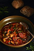 Colourful vegetable stew with chorizo