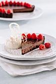 Chocolate tart with fresh raspberries and whipped cream