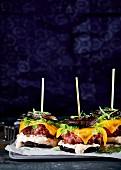 Mushroom burgers with cheese, yoghurt and whiskey