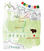 A map of Nepal showing the Tsum Valley, the Himalayas, Tibet, Yak and Kathmandu (illustration)