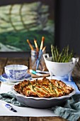 Asparagus and camembert quiche (France)