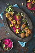 Butternut squash falafel with a beetroot dip