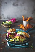 Cauliflower and quinoa burger with crunchy pickled cabbage