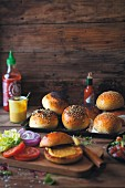 Burger rolls with various different ingredients