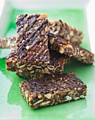 Nut bars with seeds and chocolate