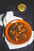 Lentil stew with chili, sausage and pork (Spain)