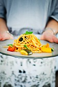 Pasta with grilled vegetables