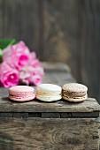 Schokoladen-, Erdbeer- und Vanillemacarons auf Holzkiste