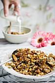 Homemade granola breakfast