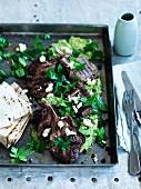 Sumac and coriander lamb cutlets with green hummus