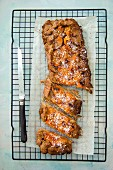 Whole wheat cake with apricots on a cooling rack (top view)
