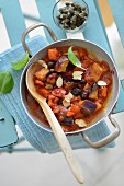 Caponata with almond flakes and capers