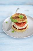 Mini burger with mozzarella and tomato