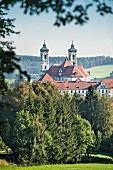 The view of Ottobeuren Abbey in the Allgäu region, Bavaria, Germany