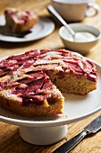 Rhubarb and coconut cake
