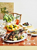 Roasted leg of lamb with anchovies and olives