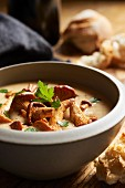 Chanterelle soup in a small bowl (close up)