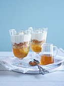 Trifles with Greek yogurt, honey and walnuts