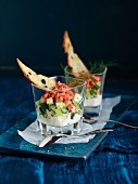 Salmon, horseradish, and cucumber trifle
