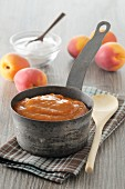 Apricot jam in the stewed pot