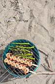 Prawns and asparagus bbq, beach location