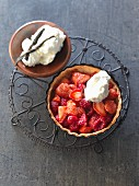 A berry tart on a decorative grill