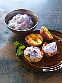 Grilled peaches with blueberry mascarpone