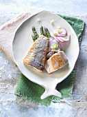 Char fillets with asparagus and radishes