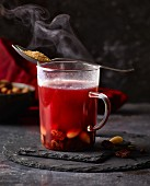 Mulled wine in a glass mug