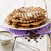 Crispy waffles with chocolate chips