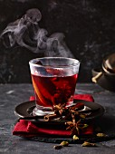 Red mulled wine with spices