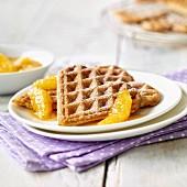 Waffles with caramelised oranges