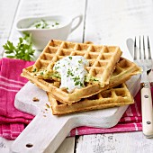 Courgette waffles with herb quark