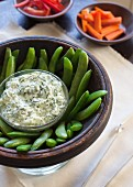 Summer crudite with kale yoghurt dip