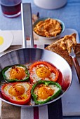 Peppers filled with fried eggs