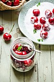 Ingredients for cherry compote