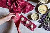 Making beetroot ravioli