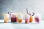 Various ice cream floats in glasses